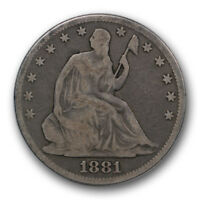 1881 50C LIBERTY SEATED HALF DOLLAR GOOD VG P MINT R352