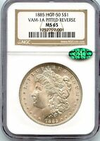 C6484- 1885 VAM-1A PITTED REVERSE HOT 50 MORGAN DOLLAR NGC MINT STATE 65 CAC