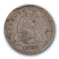 1847 LIBERTY SEATED QUARTER PCGS VF 35 FINE BETTER DATE
