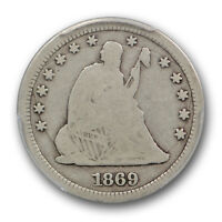 1869 S LIBERTY SEATED QUARTER PCGS G 6 GOOD 25C KEY DATE