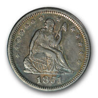 1851 25C LIBERTY SEATED QUARTER EXTRA FINE TO ABOUT UNCIRCULATED P MINT R436