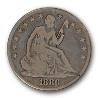 1886 50C LIBERTY SEATED HALF DOLLAR GOOD VG LOW MINTAGE R447