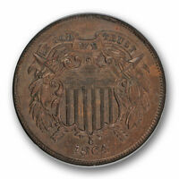 1864 TWO CENT PIECE UNCIRCULATED NGC MINT STATE 64 BN BROWN COIN 1004