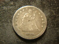 1872 XF DETAILS SEATED LIBERTY QUARTER OBVERSE SURFACE MARKS OHZ