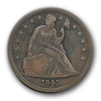 1845 $1 LIBERTY SEATED DOLLAR FINE TO EXTRA FINE TOUGH DATE R541
