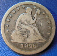 1846 QUARTER SEATED LIBERTY FINE F TONED BETTER DATE P US COIN 6882