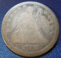 1880 SEATED LIBERTY QUARTER ABOUT GOOD AG KEY DATE US COIN LOW MINTAGE 8698