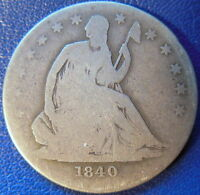 1840 O HALF DOLLAR SEATED LIBERTY GOOD G US COIN DIE CRACKS 10460