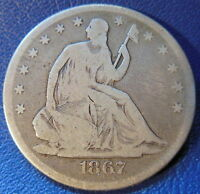 1867 SEATED LIBERTY HALF DOLLAR GOOD VG BETTER DATE PHILADELPHIA P 9788