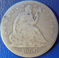 1856 S SEATED LIBERTY HALF DOLLAR GOOD TO GOOD KEY DATE 10606