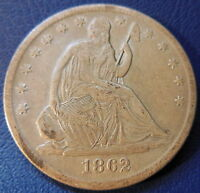 1862 S SEATED LIBERTY HALF DOLLAR FINE TO EXTRA FINE US COIN 7644