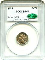 1883 3CN PCGS/CAC PR 65   LOW MINTAGE PROOF   3 CENT NICKEL   LOW MINTAGE PROOF