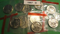 101987 D  BU WASHINGTON QUARTERS IN THE ORIGINAL MINT WRAPPERS FROM MINT SETS