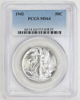 1942 WALKING LIBERTY HALF DOLLAR MS 64 PCGS 0839 CERTIFIED UNCIRCULATED