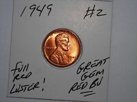 WHEAT PENNY 1949 NICE GEM RED BU 1949 P LOT 2 LINCOLN CENT GREAT UNC RED LUSTER