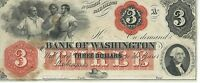 NORTH CAROLINA BANK OF WASHINGTON $3 NOTE 1862 UNSIGNED RED OVERPRINT NOTE 2