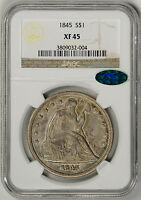 1845  NGC XF45    CAC APPROVED    TOUGH DATE    24,500 MINTED   3809032 004