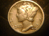 1934 D MERCURY DIME IN FINE CONDITION..ADD TO SET OR COLLECTION.