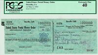 POSTAL MONEY ORDER SERIAL NUMBER 1,000,000 PCGS GRADED MAY 2 1951 NR UNIQUE USA