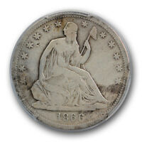 1866 S 50C NO MOTTO LIBERTY SEATED HALF DOLLAR PCGS F FINE DETAILS CLEANED