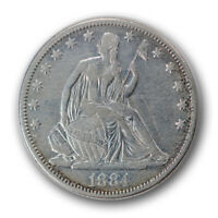 1884 50C LIBERTY SEATED HALF DOLLAR FINE TO EXTRA FINE CLEANED R626