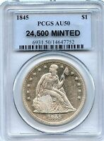 C7242  1845 SEATED LIBERTY DOLLAR PCGS AU50   24,500 MINTED