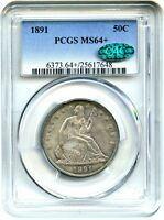 1891 50C PCGS/CAC MS64   LOVELY TYPE COIN   LIBERTY SEATED HALF DOLLAR
