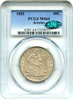 1855 50C PCGS/CAC MS64 ARROWS LIBERTY SEATED HALF DOLLAR   NICE TYPE COIN