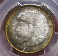1936 ELGIN HALF DOLLAR 50C PCGS MINT STATE 67 MONSTER RAINBOW