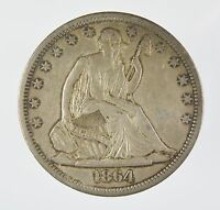 1864 S SEATED LIBERTY SILVER HALF DOLLAR XF CONDITION P33