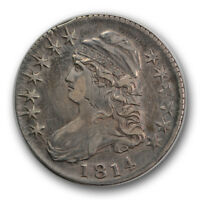 1814 50C E/A CAPPED BUST HALF DOLLAR ABOUT UNCIRCULATED AU SCRATCHED R859
