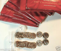 20 GEM BU 1987D WASHINGTON QUARTERS FROM 1987 MINT SETS IN A PLASTIC TUBE