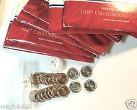 20 GEM BU 1987P JEFFERSON NICKELS FROM 1987 MINT SETS IN A PLASTIC TUBE