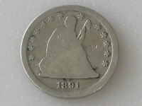 1891 S SEATED LIBERTY QUARTER 90 SILVER U.S. COIN D5180