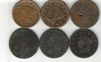 6 OLD U.S LARGE CENTS.1797 1843.LOW GRADE