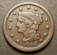1846 TALL DATE BRAIDED HAIR LARGE CENT N 13 RARITY 2 RED BOOK TYPE NICE F/VF177
