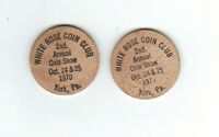 2 WHITE ROSE COIN CLUB 2ND ANNUAL SHOW 1970 SOUVENIR WOODEN NICKELS YORK PA