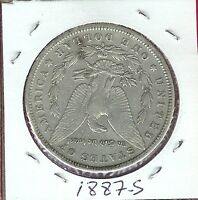 USA MORGAN DOLLAR 1887-S EXTRA FINE  LIBERTY,AND EAGLE CLASPING ARROWS AND OLIVE BRANCH S