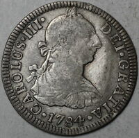 1784 COLONIAL SPAIN SILVER 2 REALES OLD US QUARTER DOL MEXICO CITY MO MINT