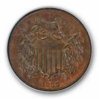 1866 2C TWO CENT PIECE NGC MINT STATE 65 RB UNCIRCULATED RED BROWN TOUGH GRADE