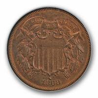 1868 2C TWO CENT PIECE NGC MINT STATE 65 BN UNCIRCULATED BROWN HIGH END