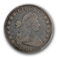 1801 50C DRAPED BUST HALF DOLLAR PCGS VF  FINE CLEANED KEY DATE