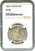 1866 S 50C NGC VF30   LIBERTY SEATED HALF DOLLAR
