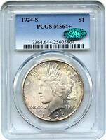 1924 S $1 PCGS/CAC MS64 BETTER DATE FROM SAN FRANCISCO   PEACE SILVER DOLLAR