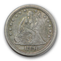 1880 25C LIBERTY SEATED QUARTER FINE TO EXTRA FINE LOW MINTAGE R894