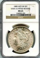 C7559- 1885 VAM-1A PITTED REVERSE HOT 50 MORGAN DOLLAR NGC MINT STATE 65