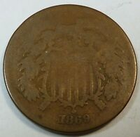 1869 UNITED STATES SHIELD TWO CENT PIECE - AG ABOUT GOOD CONDITION