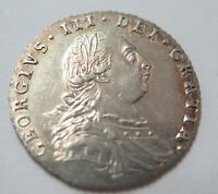 UK : 1787 GEORGE III SIXPENCE  NO HEARTS    EXTRA FINE