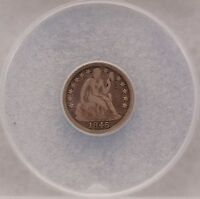 1846 SEATED LIBERTY DIME 10C COIN ANACS F12 ACTUAL PICS FREE S/H