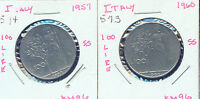 WORLD COINS ITALY 1957 AND 1960 100 LIRE  2G390